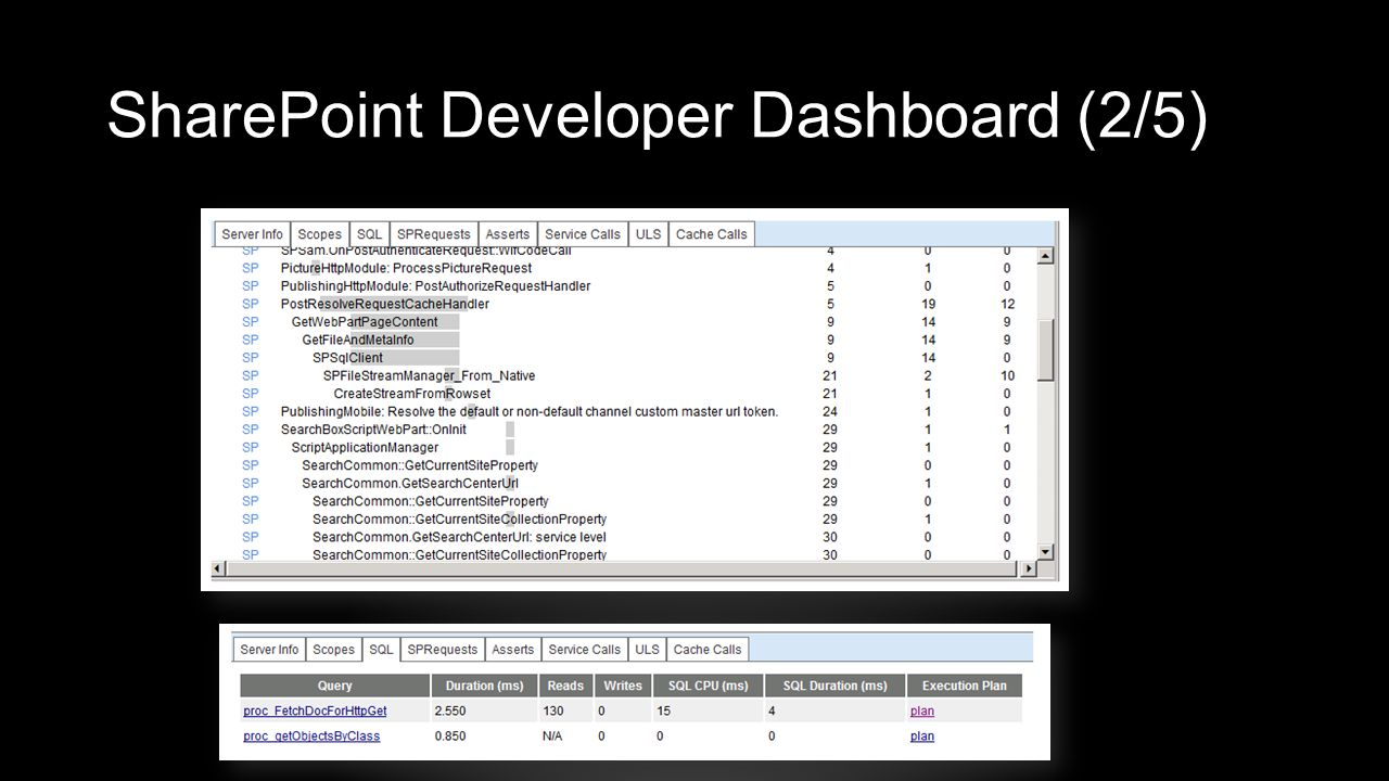 SharePoint Developer Dashboard (2/5)