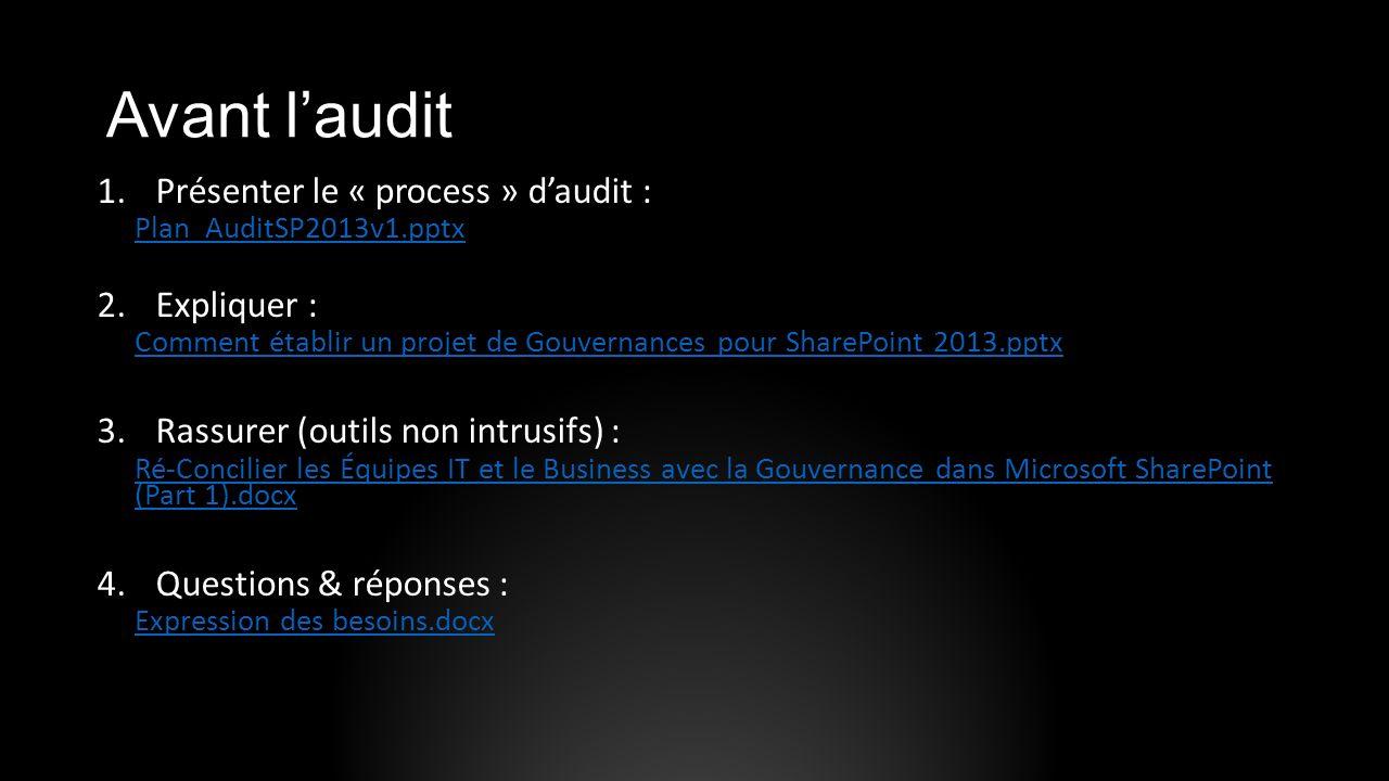 Avant l'audit Présenter le « process » d'audit : Expliquer :