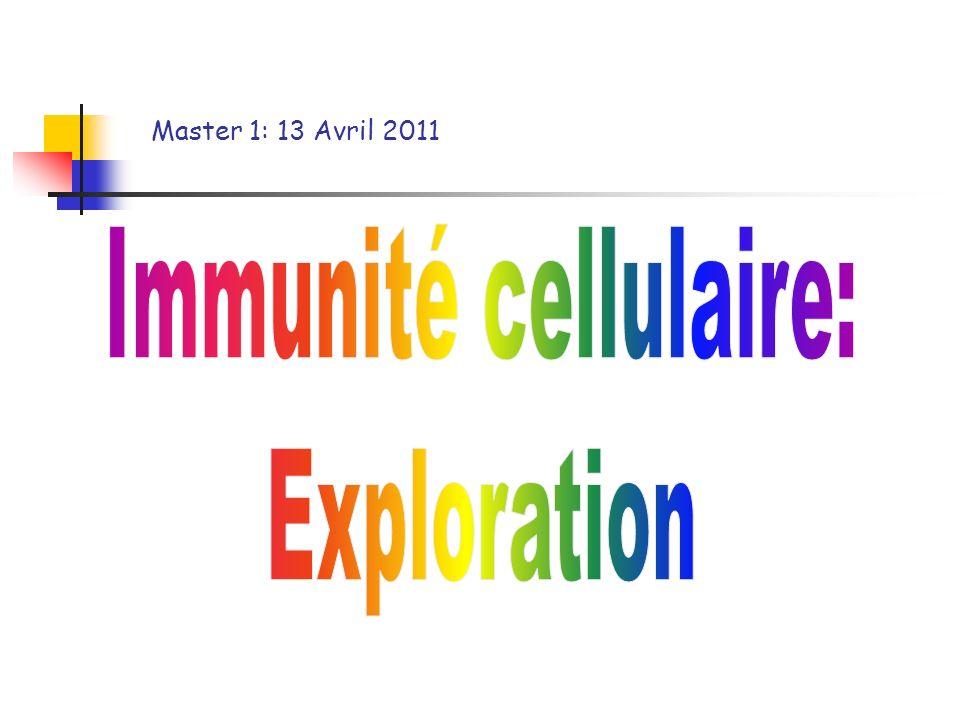 Master 1: 13 Avril 2011 Immunité cellulaire: Exploration