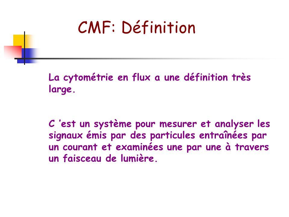 CMF: Définition La cytométrie en flux a une définition très large.