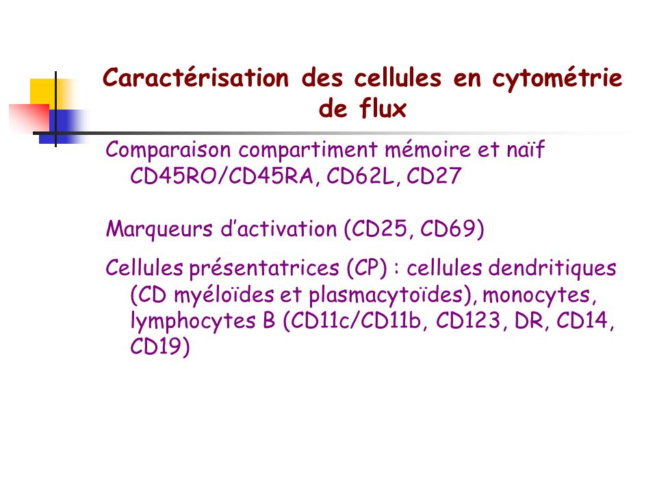 Caractérisation des cellules en cytométrie de flux