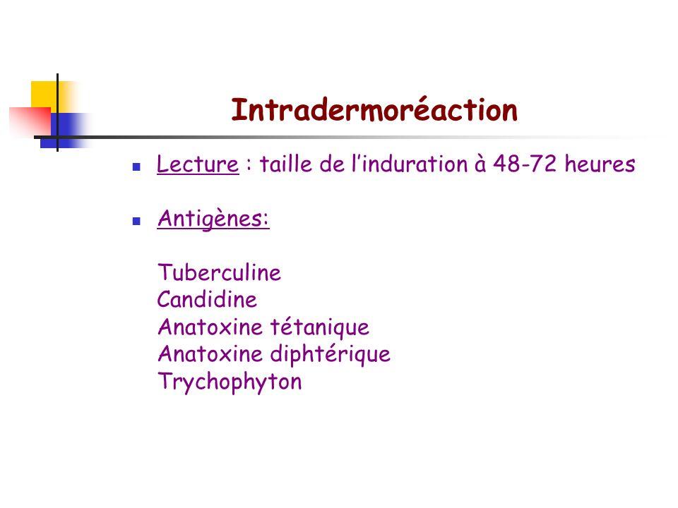Intradermoréaction Lecture : taille de l'induration à 48-72 heures