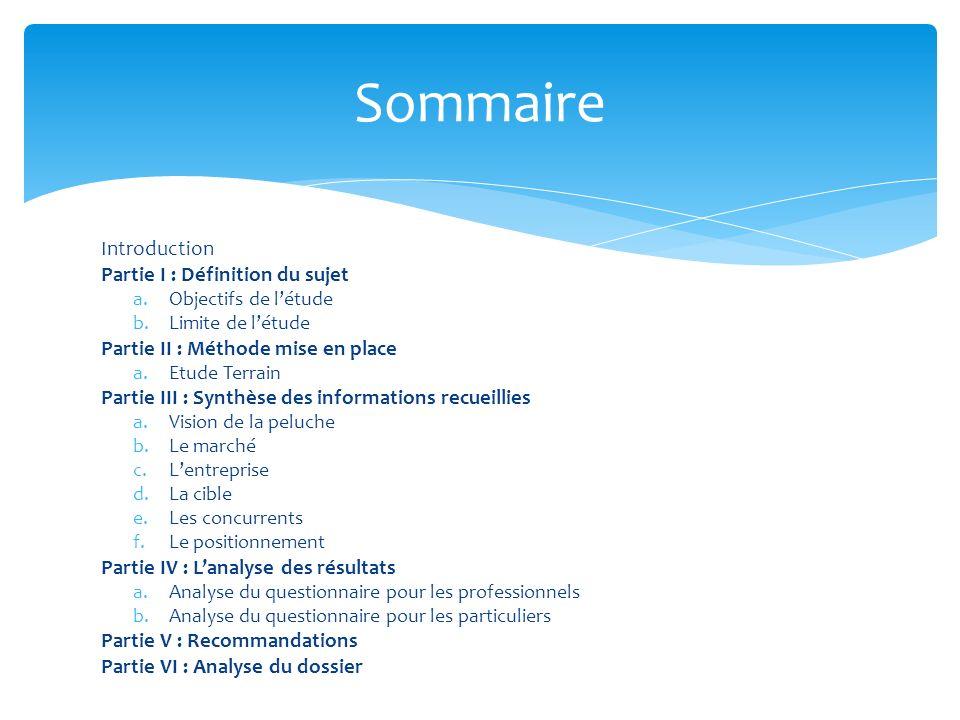 Sommaire Introduction Partie I : Définition du sujet