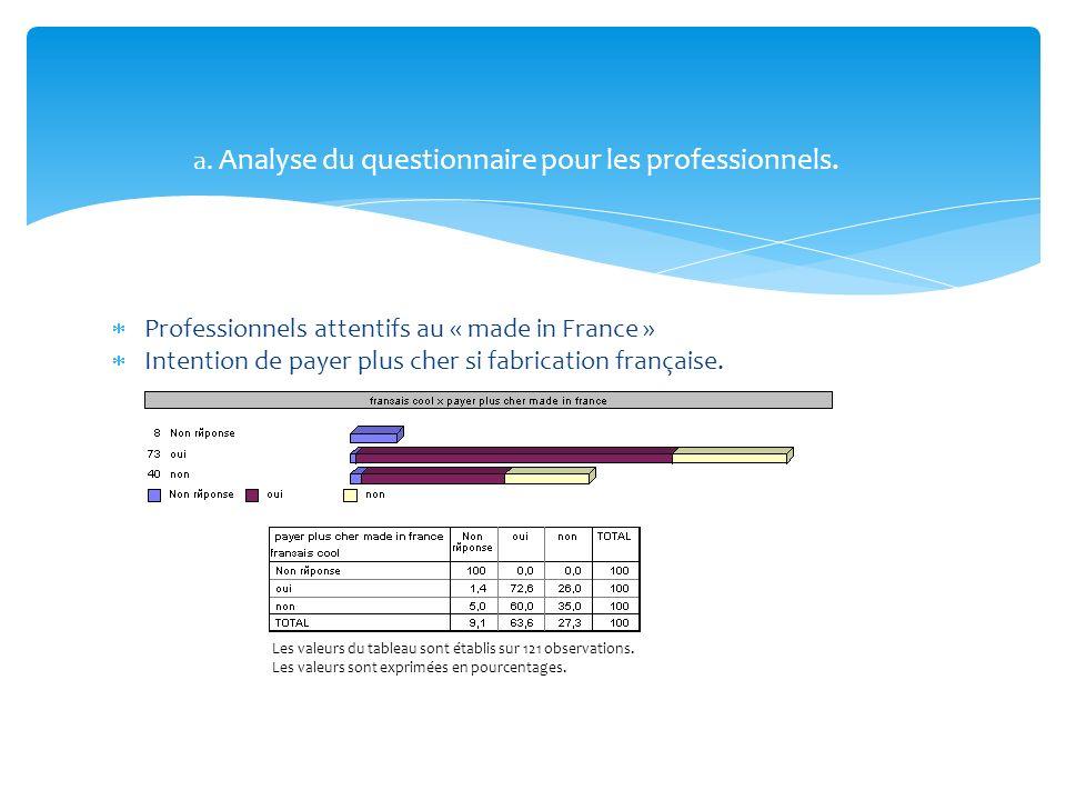a. Analyse du questionnaire pour les professionnels.