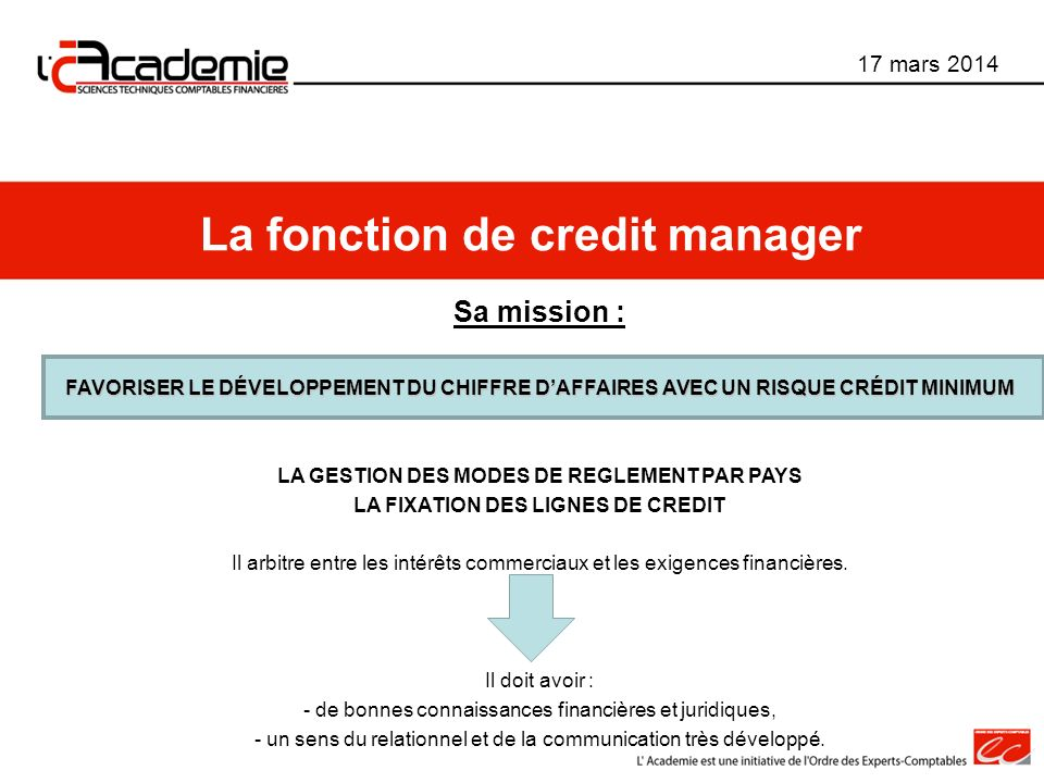 La fonction de credit manager