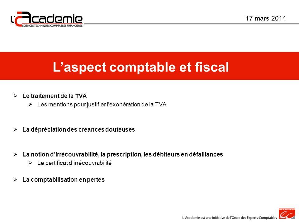 L'aspect comptable et fiscal