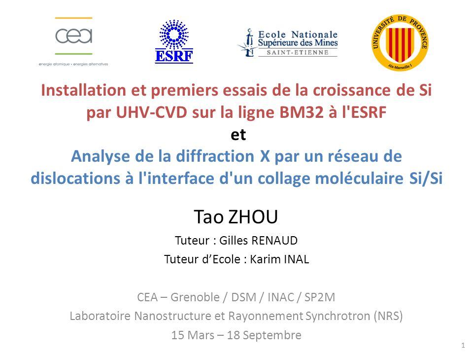 Installation et premiers essais de la croissance de Si par UHV-CVD sur la ligne BM32 à l ESRF et Analyse de la diffraction X par un réseau de dislocations à l interface d un collage moléculaire Si/Si