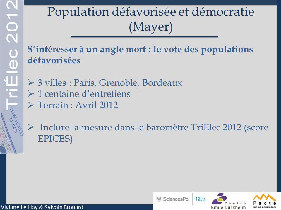 Population défavorisée et démocratie (Mayer)