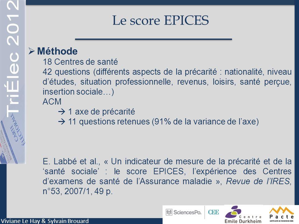 Le score EPICES Méthode 18 Centres de santé