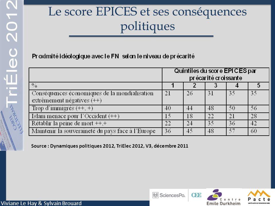 Le score EPICES et ses conséquences politiques