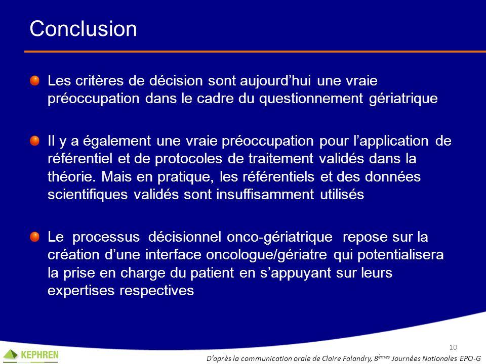 Conclusion Les critères de décision sont aujourd'hui une vraie préoccupation dans le cadre du questionnement gériatrique.