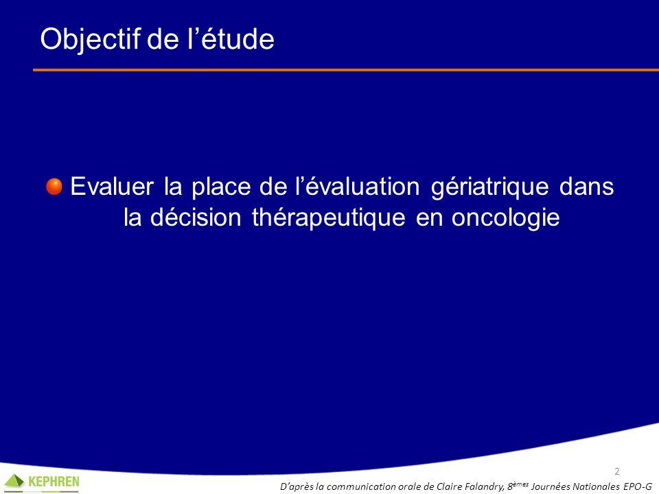 Objectif de l'étude Evaluer la place de l'évaluation gériatrique dans la décision thérapeutique en oncologie.