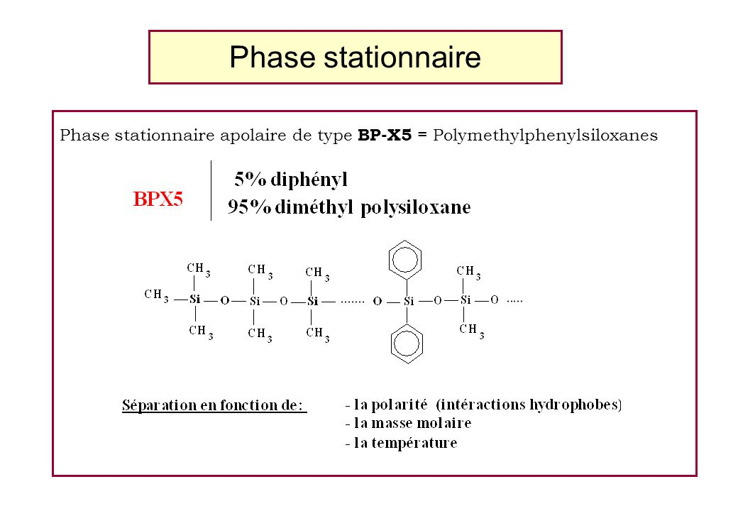 Phase stationnaire Phase stationnaire apolaire de type BP-X5 = Polymethylphenylsiloxanes