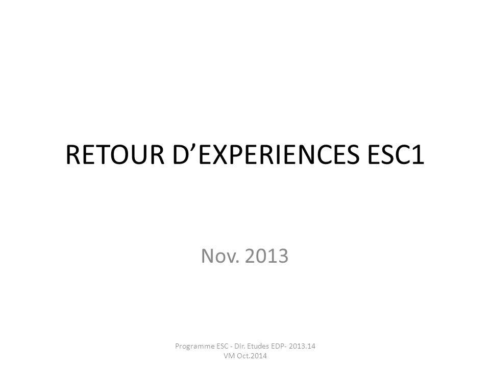 RETOUR D'EXPERIENCES ESC1