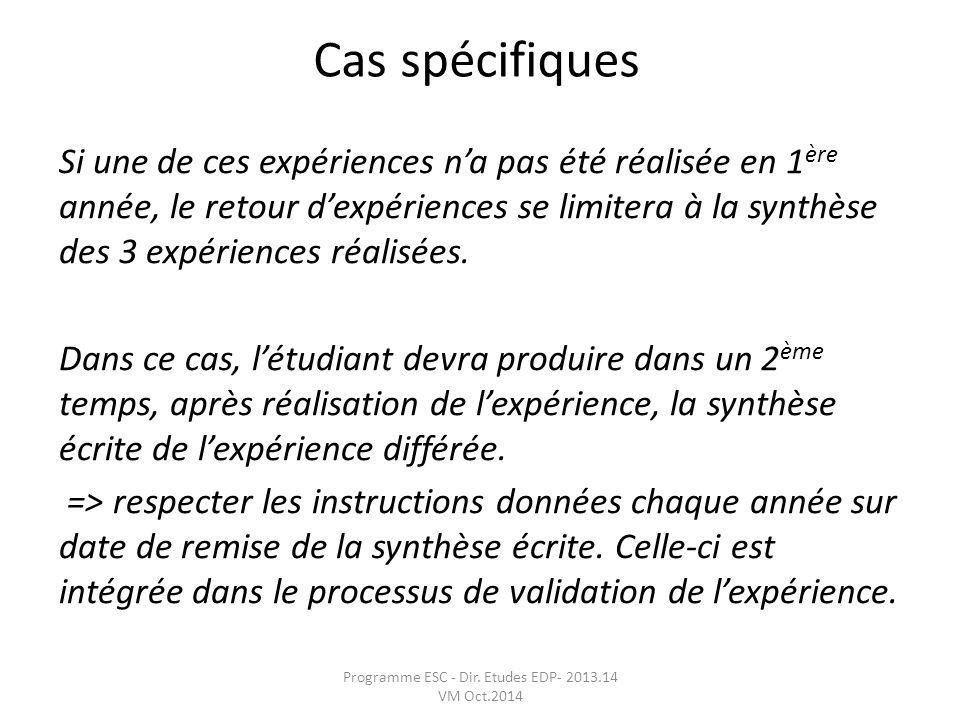 Programme ESC - Dir. Etudes EDP- 2013.14 VM Oct.2014