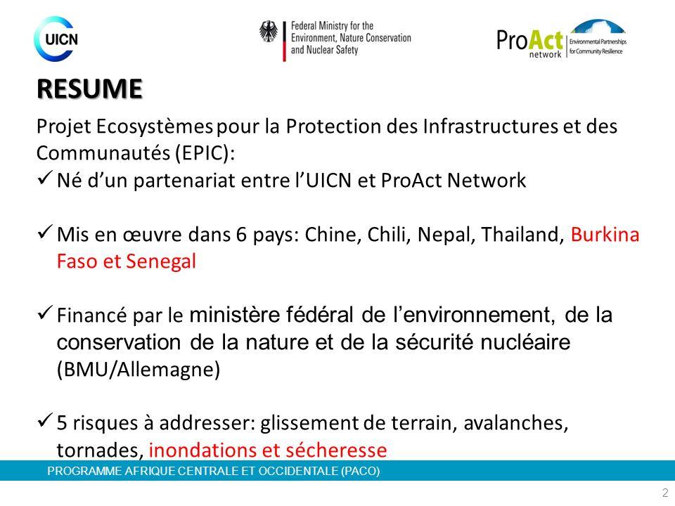 RESUME Projet Ecosystèmes pour la Protection des Infrastructures et des Communautés (EPIC): Né d'un partenariat entre l'UICN et ProAct Network.