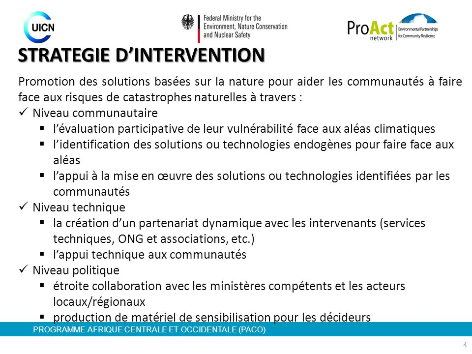 STRATEGIE D'INTERVENTION