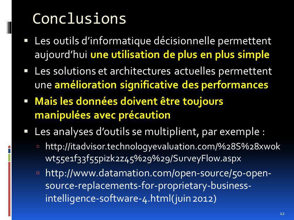 Conclusions Les outils d'informatique décisionnelle permettent aujourd'hui une utilisation de plus en plus simple.