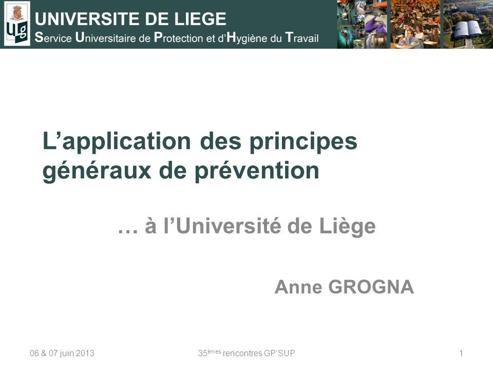 L'application des principes généraux de prévention