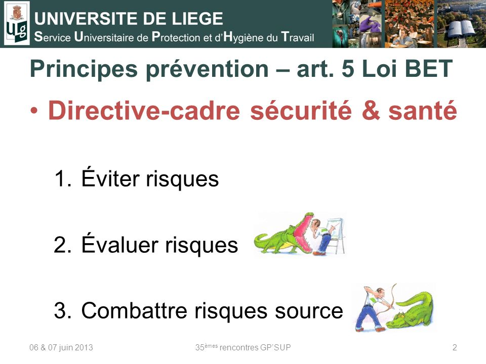 Principes prévention – art. 5 Loi BET