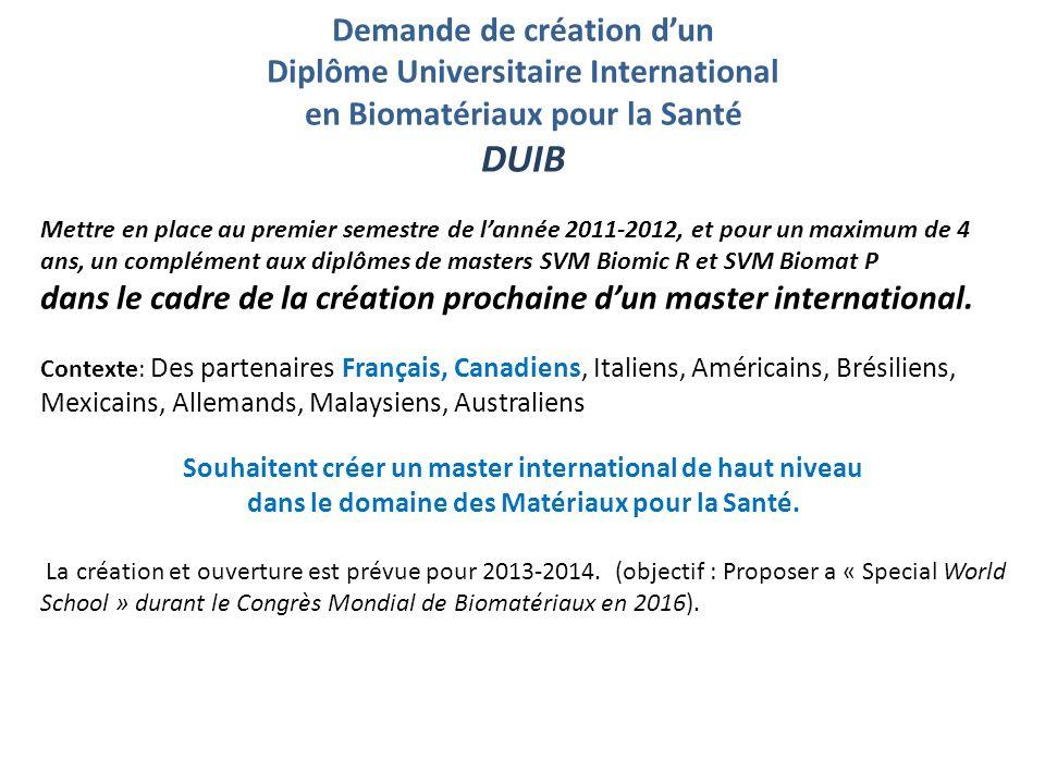 DUIB Demande de création d'un Diplôme Universitaire International