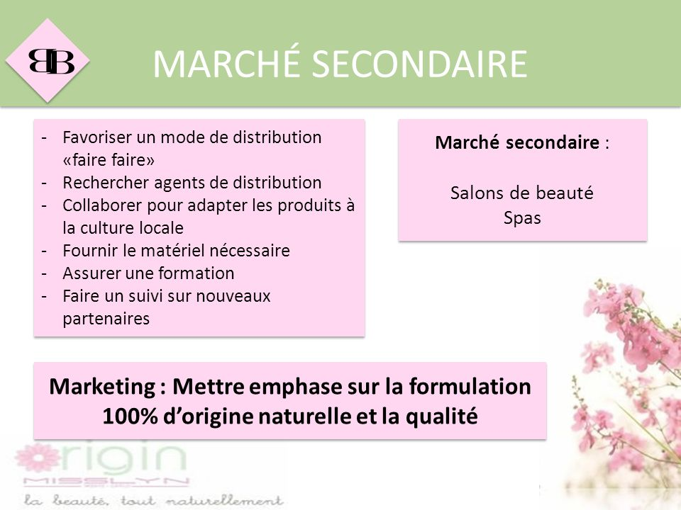 MARCHÉ SECONDAIRE Favoriser un mode de distribution «faire faire» Rechercher agents de distribution.