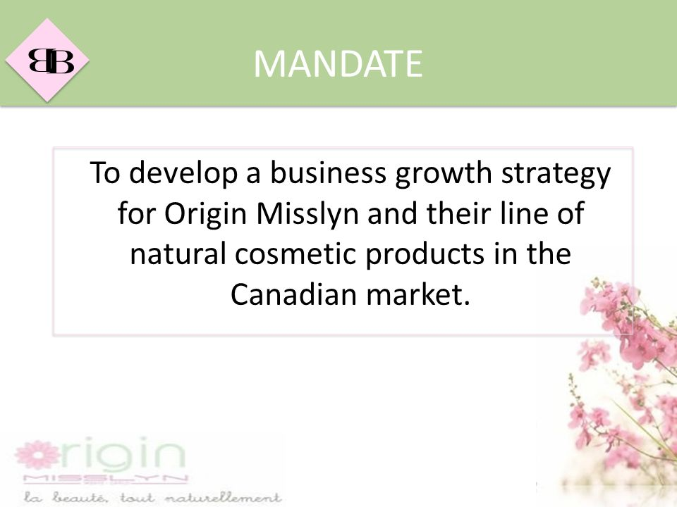 MANDATE To develop a business growth strategy for Origin Misslyn and their line of natural cosmetic products in the Canadian market.