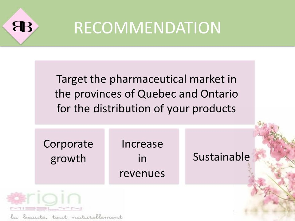 RECOMMENDATION Target the pharmaceutical market in the provinces of Quebec and Ontario for the distribution of your products.