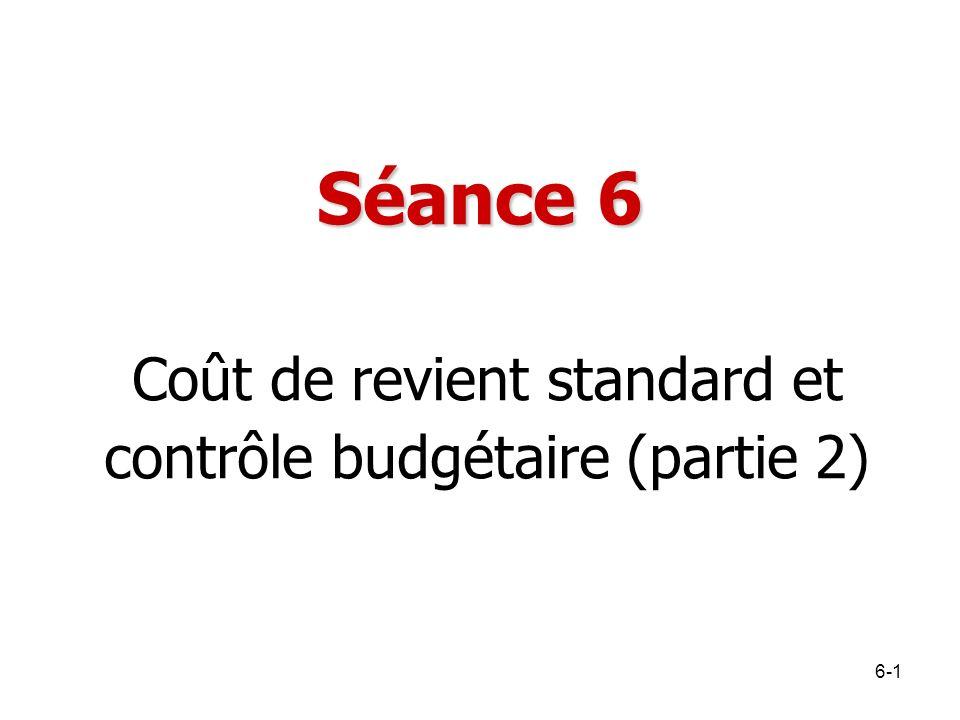 Coût de revient standard et contrôle budgétaire (partie 2)