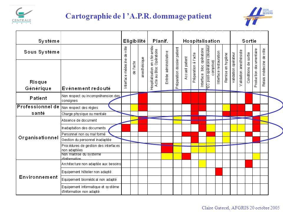 Cartographie de l 'A.P.R. dommage patient