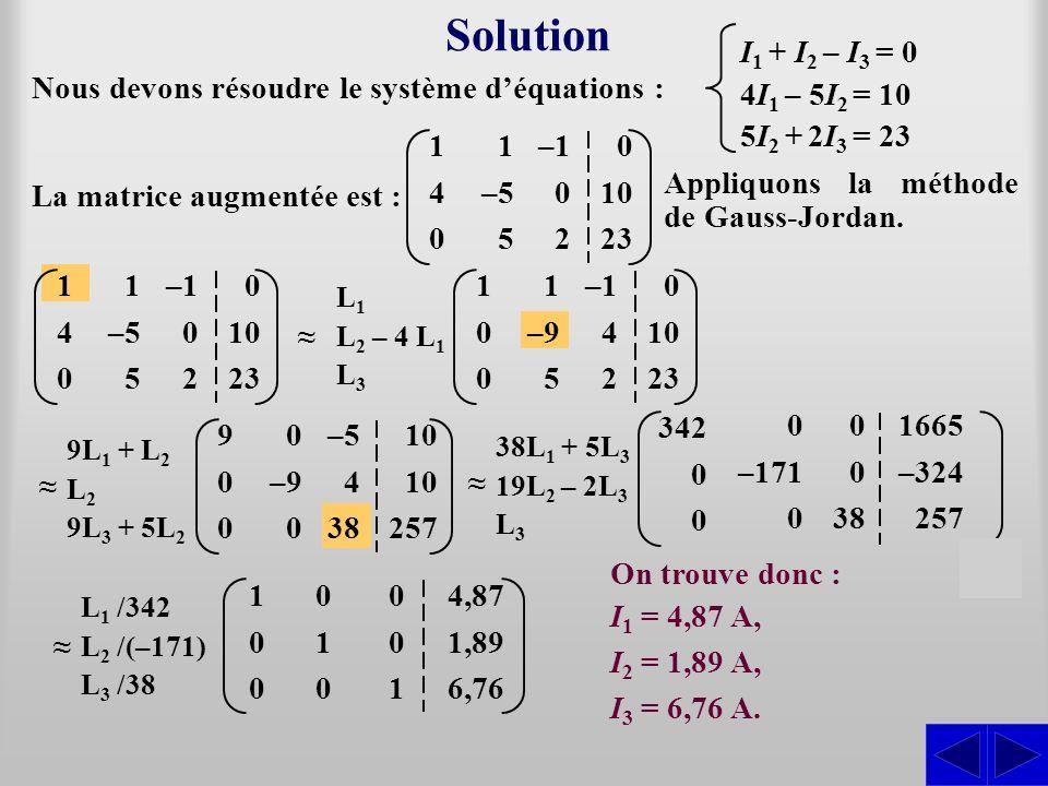 Solution S S S S I1 + I2 – I3 = 0 4I1 – 5I2 = 10 5I2 + 2I3 = 23