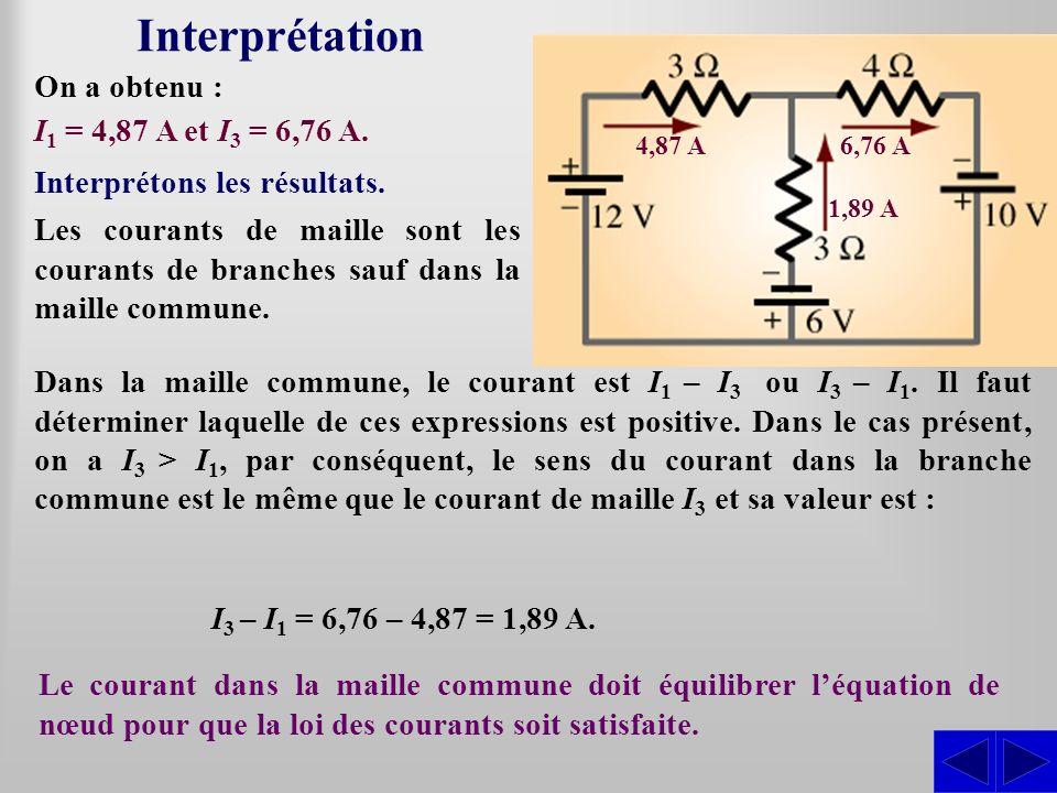 Interprétation On a obtenu : I1 = 4,87 A et I3 = 6,76 A.