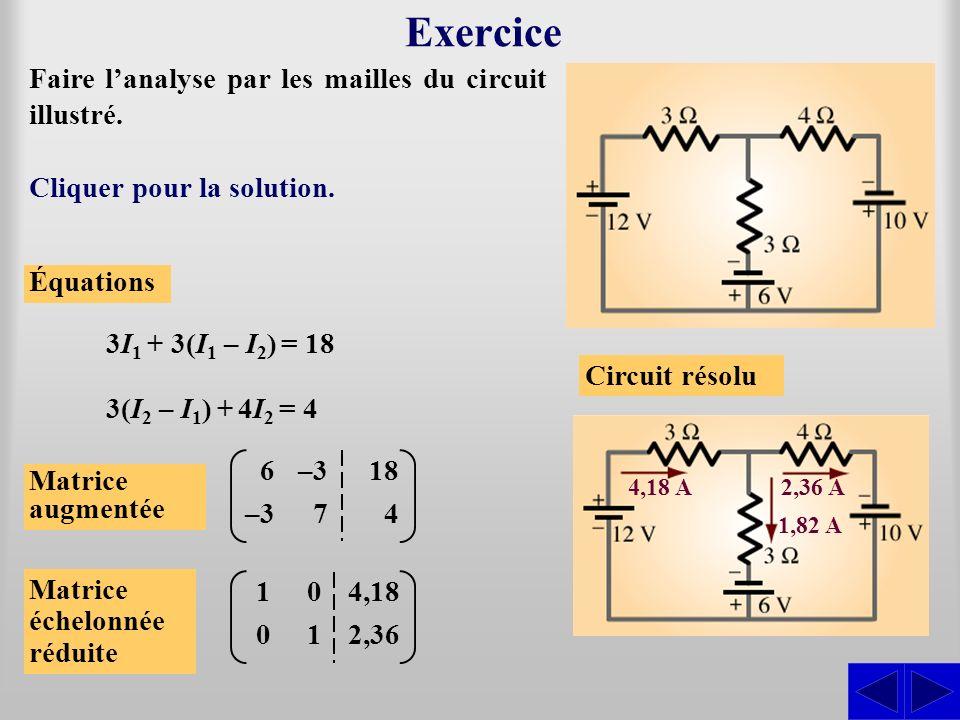 Exercice Faire l'analyse par les mailles du circuit illustré.