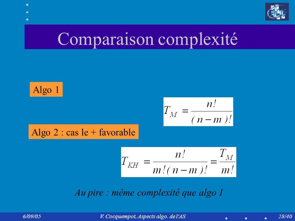 Comparaison complexité