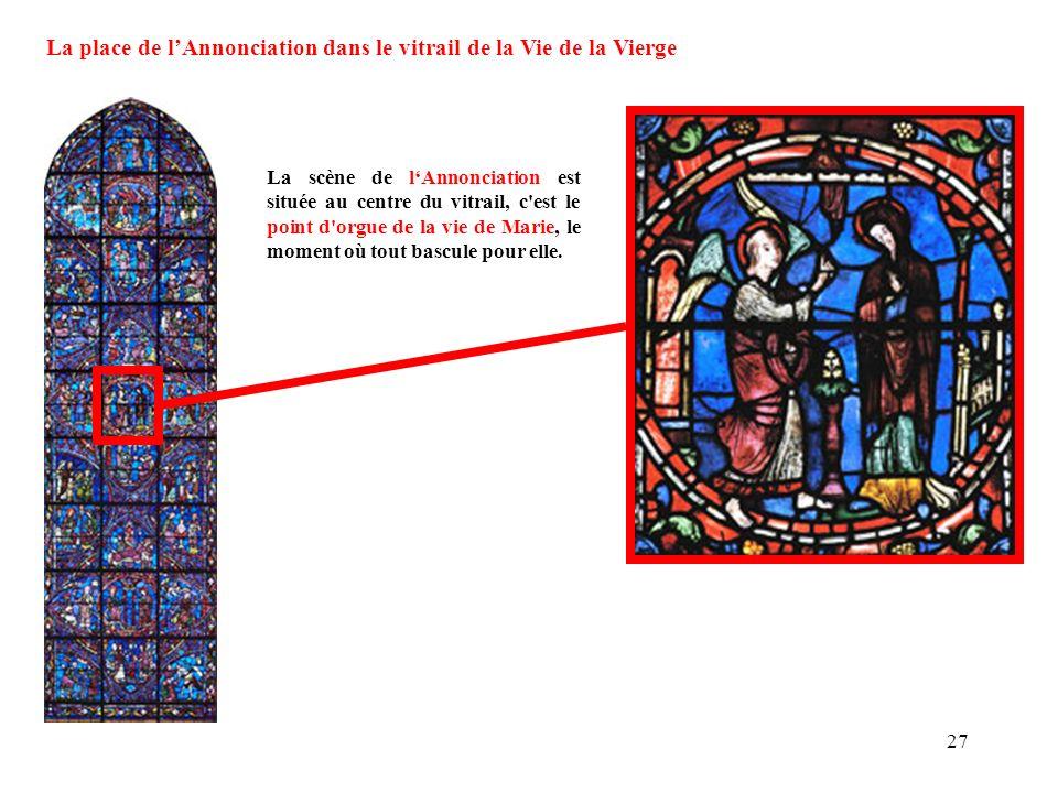 La place de l'Annonciation dans le vitrail de la Vie de la Vierge