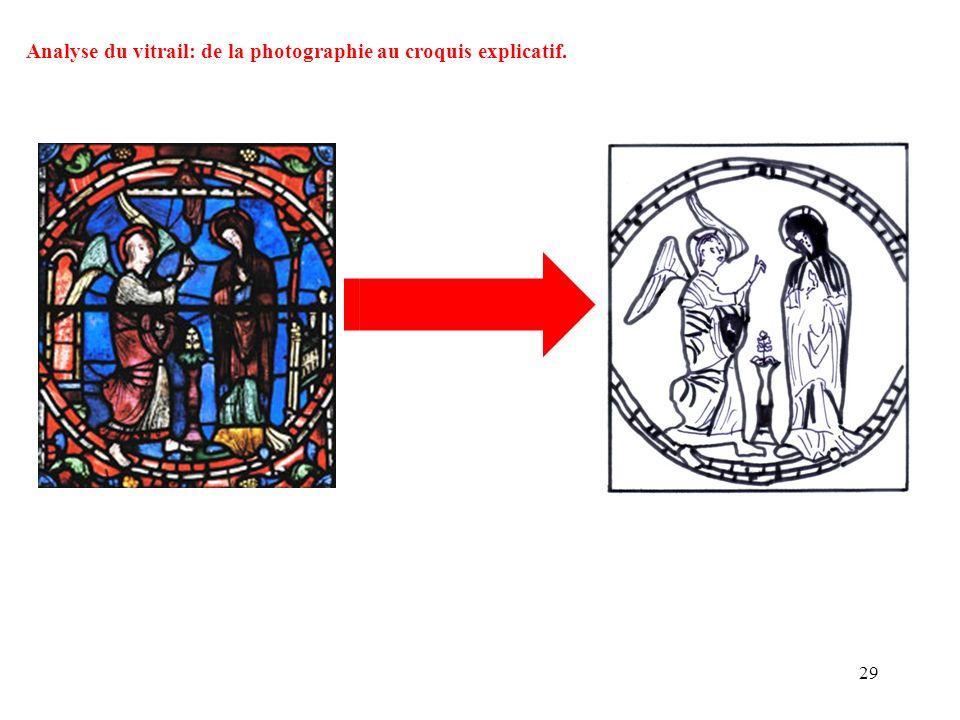 Analyse du vitrail: de la photographie au croquis explicatif.