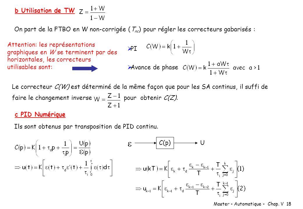 b Utilisation de TW On part de la FTBO en W non-corrigée (Tnc) pour régler les correcteurs gabarisés :