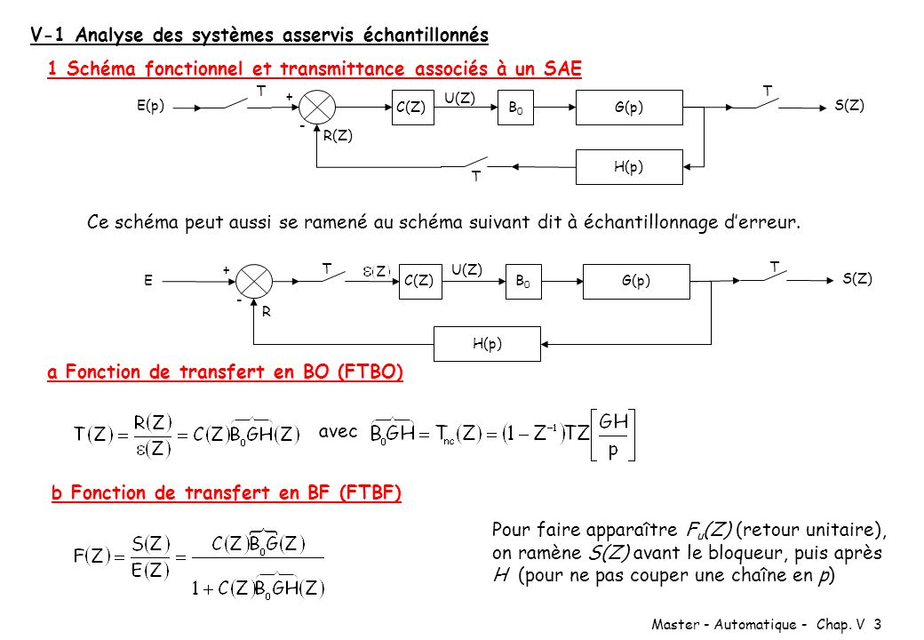 V-1 Analyse des systèmes asservis échantillonnés
