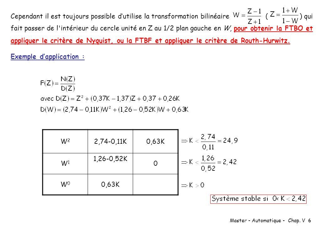 Cependant il est toujours possible d'utilise la transformation bilinéaire ( ) qui fait passer de l intérieur du cercle unité en Z au 1/2 plan gauche en W, pour obtenir la FTBO et appliquer le critère de Nyquist, ou la FTBF et appliquer le critère de Routh-Hurwitz.