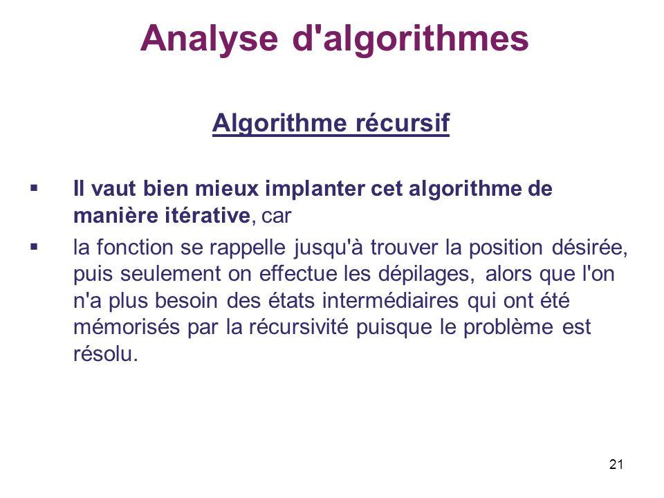 Analyse d algorithmes Algorithme récursif