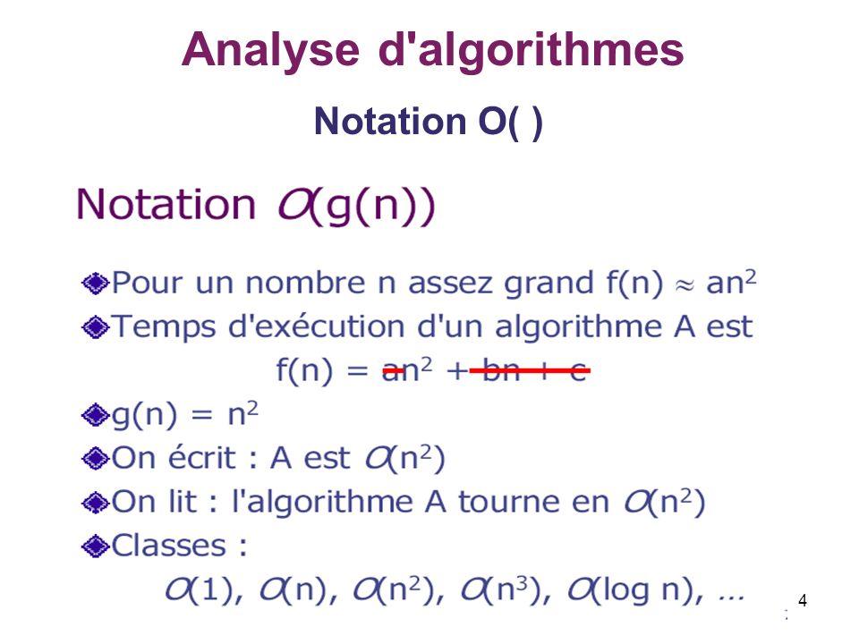 Analyse d algorithmes Notation O( )