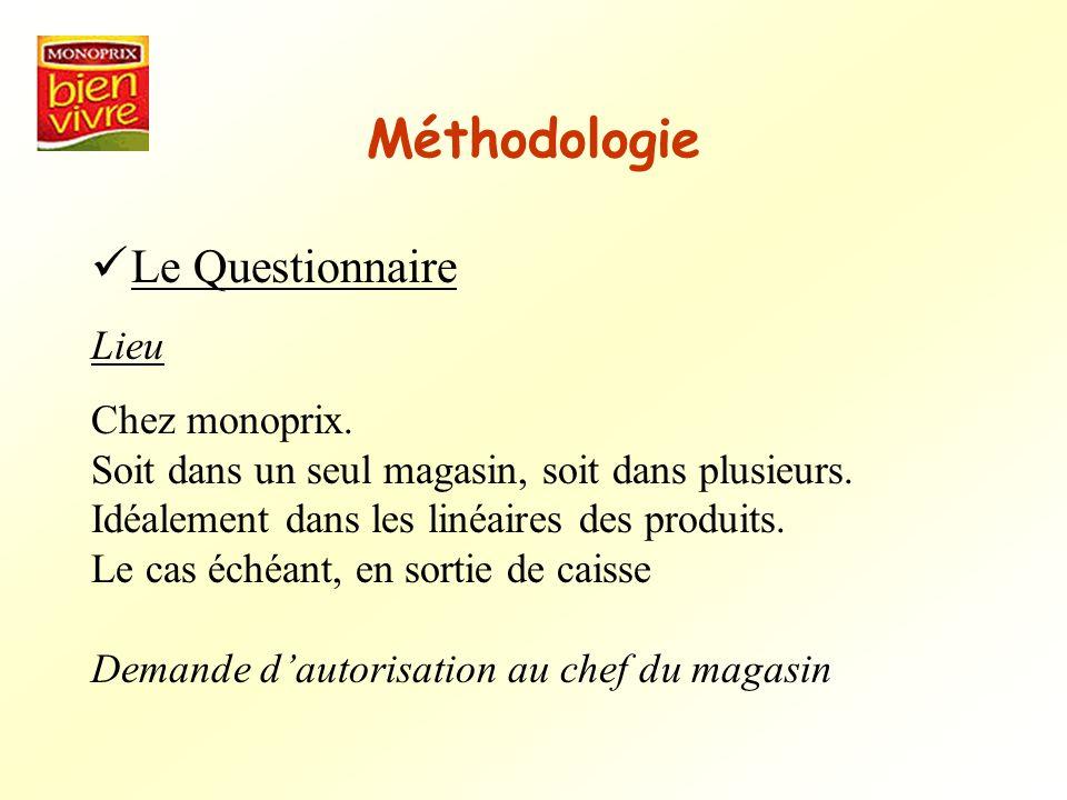Méthodologie Le Questionnaire Lieu Chez monoprix.