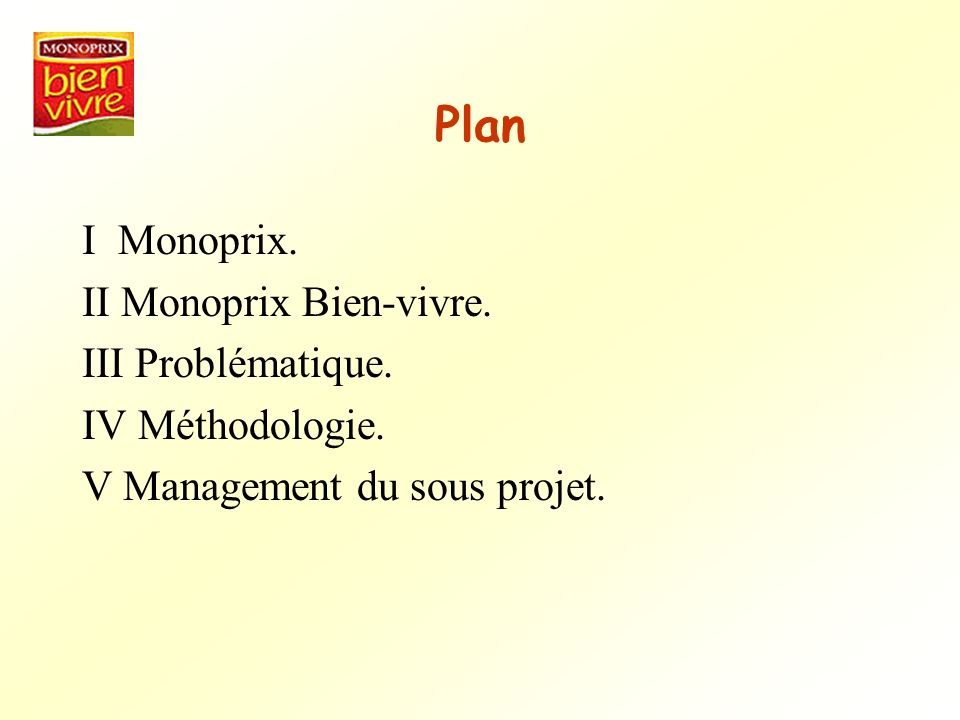 Plan I Monoprix. II Monoprix Bien-vivre. III Problématique.