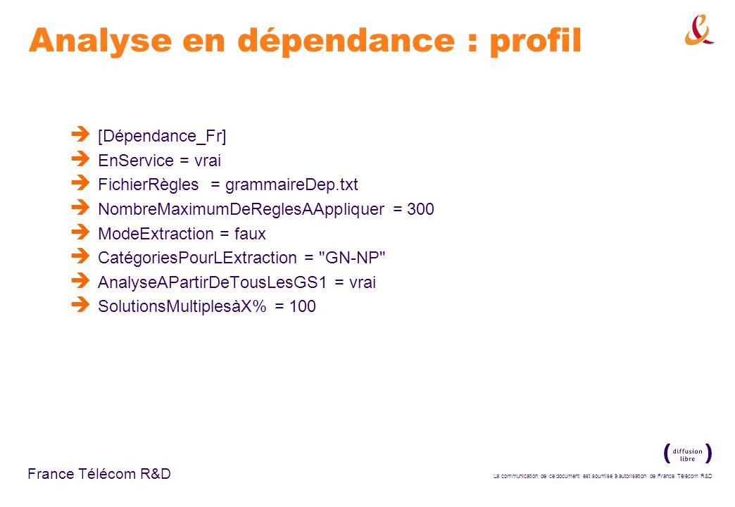 Analyse en dépendance : profil