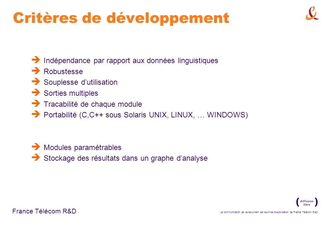 Critères de développement
