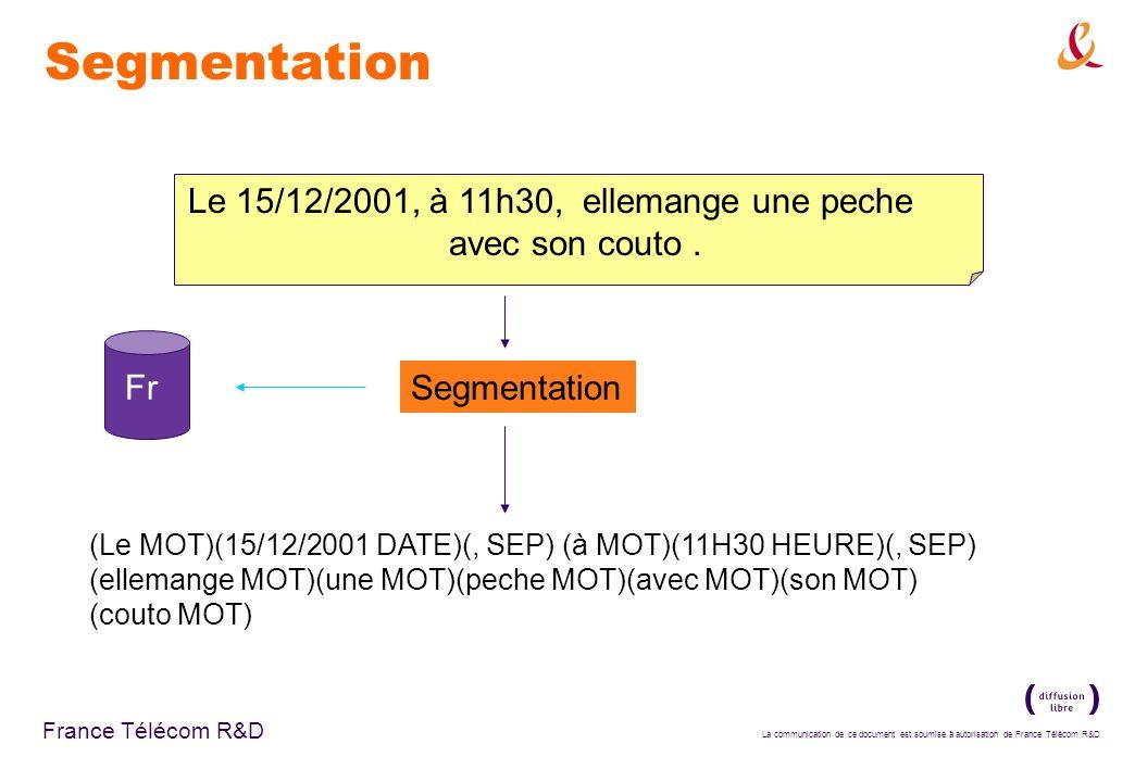 Segmentation Le 15/12/2001, à 11h30, ellemange une peche avec son couto . Fr. Segmentation.