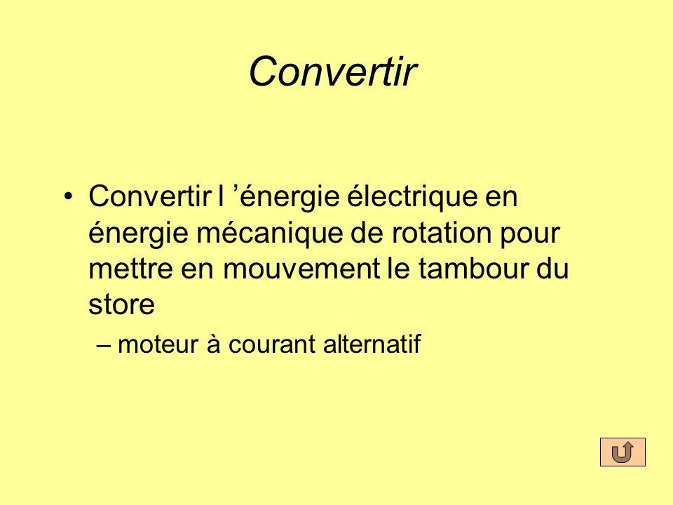 Convertir Convertir l 'énergie électrique en énergie mécanique de rotation pour mettre en mouvement le tambour du store.