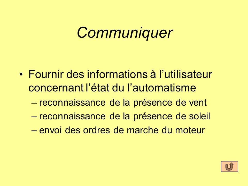 Communiquer Fournir des informations à l'utilisateur concernant l'état du l'automatisme. reconnaissance de la présence de vent.