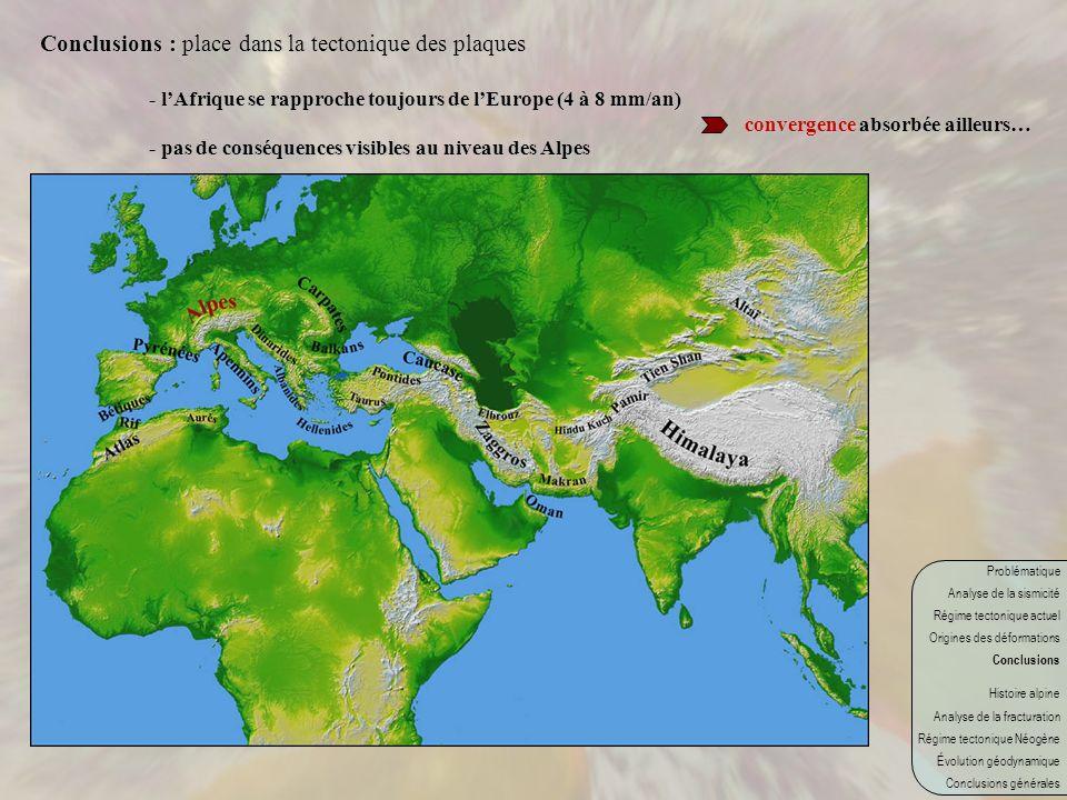 Conclusions : place dans la tectonique des plaques