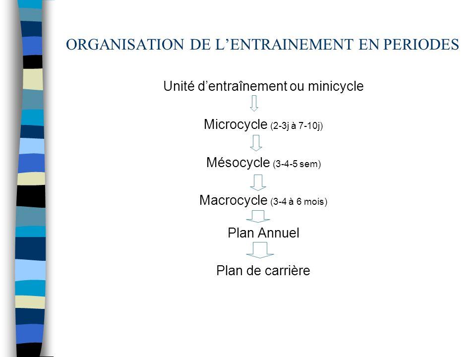 ORGANISATION DE L'ENTRAINEMENT EN PERIODES